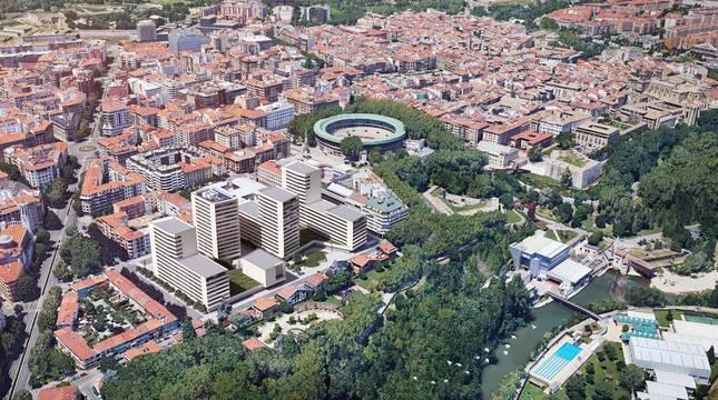 La nueva zona residencial de Salesianos, en una recreación, sobresale entre el resto de los edificios del II Ensanche. Abajo, a la derecha, las instalaciones del Club Natación, en el centro la plaza de toros, y arriba a la izquierda la Ciudadela.
