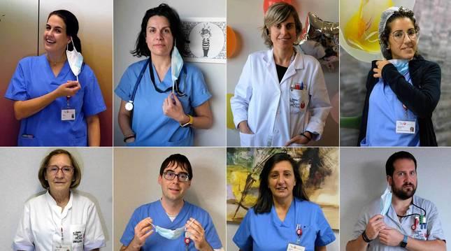 María González Ascarza, Virginia Pérez, Rakel Gorritxo, María Asunción Sánchez, Carmen López, Beñat Goñi, Pili Huarte y Yolanda Santesteban.