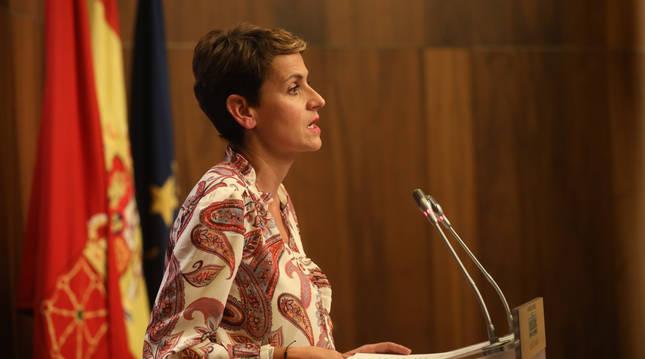 Comparecencia de María Chivite este lunes, 19 de octubre.