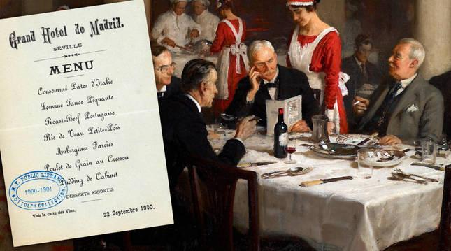 Cuadro de F. W. Elwell y menú del Hotel de Madrid, en Sevilla. biblioteca pública de nueva york