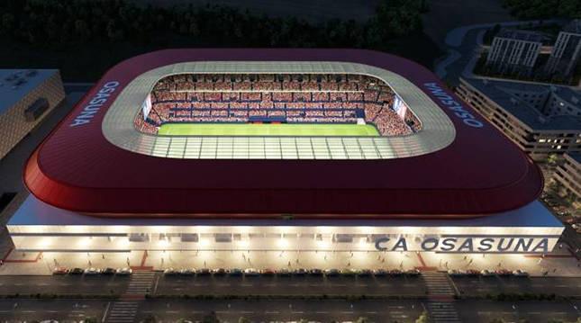 Aspecto del estadio El Sadar una vez finalizadas las obras de reforma.