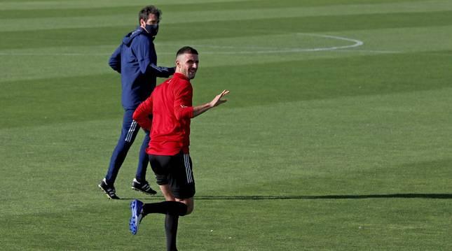 Foto del capitán de Osasuna, Oier Sanjurgo, en su entrenamiento de este miércoles.