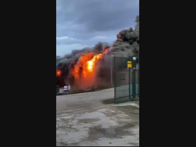 Incendio en una granja de cerdos en Sesma