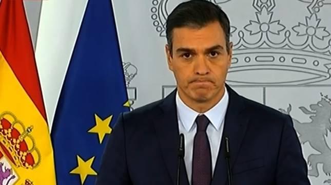Pedro Sánchez, durante la declaración institucional en La Moncloa sobre la pandemia de Covid-19.