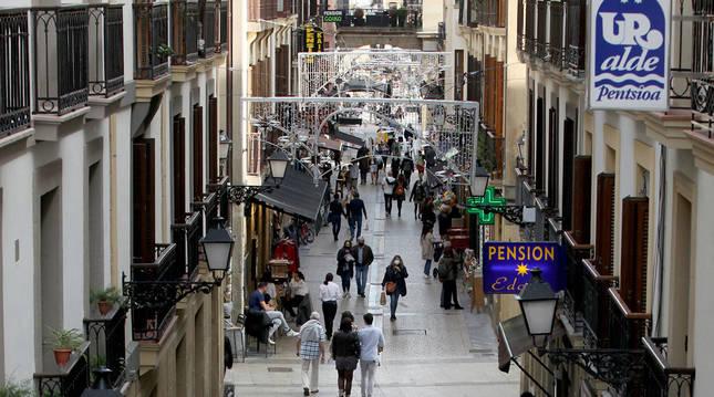 Una calle céntrica de San Sebastián el sábado 24 de octubre.