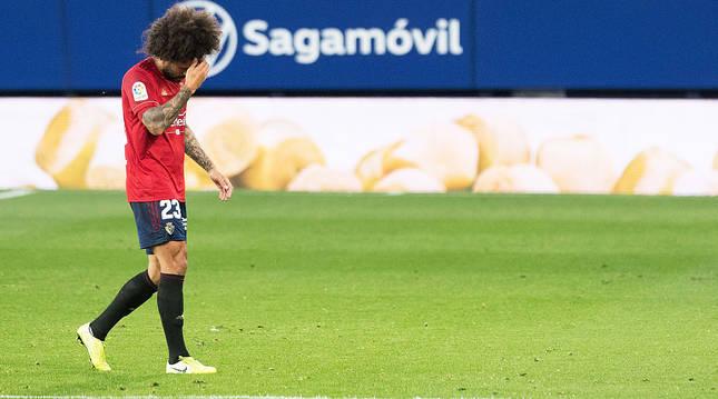 Aridane se lamenta al marcharse lesionado del campo este pasado sábado.