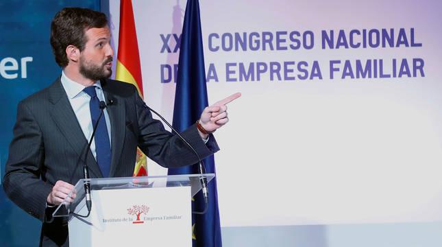 Pablo Casado, en el XXIII Congreso Nacional de la Empresa Familiar.