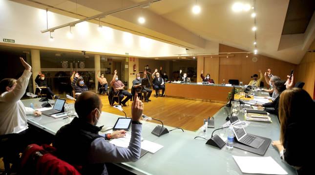 Foto de un pleno del Ayuntamiento de Tafalla (Navarra).