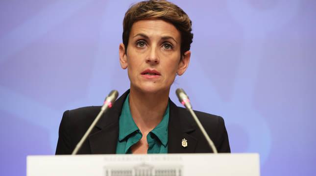 María Chivite durante al rueda de prensa en la que ha valorado las obras de la segunda fase del Canal de Navarra.