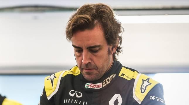 Foto de Fernando Alonso, en un test de Renault.