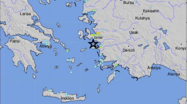 Lugar exacto del terremoto entre Turquía y Grecia.