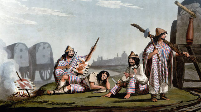 Gauchos preparan un asado, de 'Picturesque illustrations of Buenos Ayres and Monte Video' (1820). CC PD