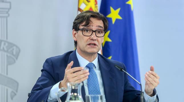 El ministro de Sanidad, Salvador Illa, ofrece una rueda de prensa tras la celebración del Consejo Interterritorial en el Complejo de Moncloa, en Madrid, (España), a 4 de noviembre de 2020.