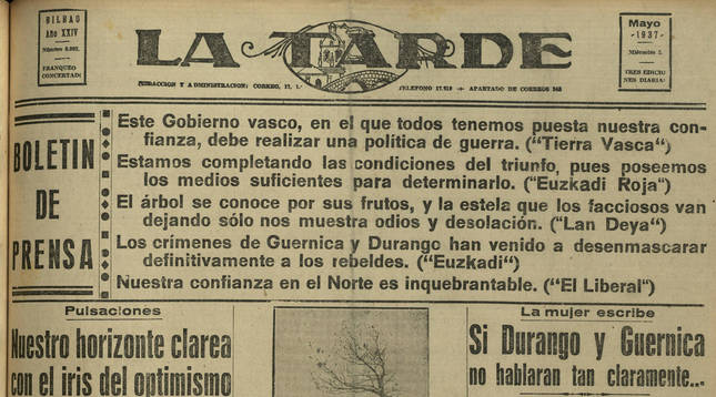 Portada de La Tarde con el artículo de Juana Mir.