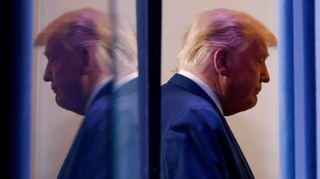 El todavía presidente de EE UU, Donald Trump, tras una rueda de prensa en la Casa Blanca.