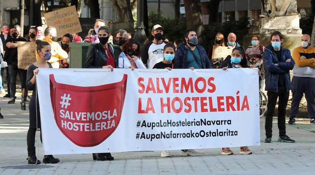 Manifestación de la hostelería navarra el 29 de octubre. El sector es uno de los más afectados por la pandemia.