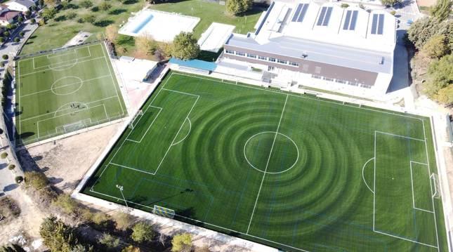 Foto aérea del complejo San Ginés, donde se ha colocado una nueva alfombra.