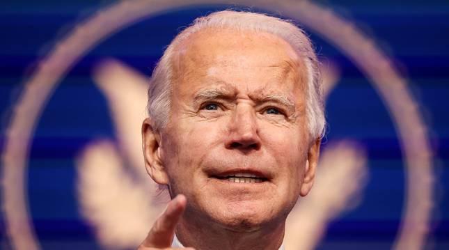 Foto de Joe Biden, durante la rueda de prensa de este martes.