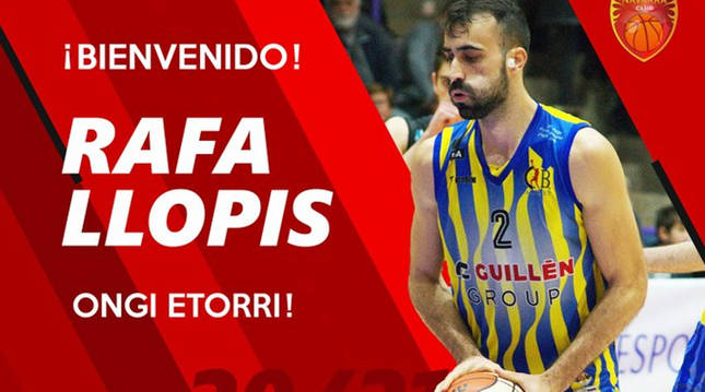 El jugador Rafa Llopis en el comunicado de Basket Navarra en las redes tras su contratación.