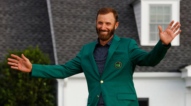 foto de El golfista estadounidense Dustin Johnson celebra su victoria en el Masters de Augusta