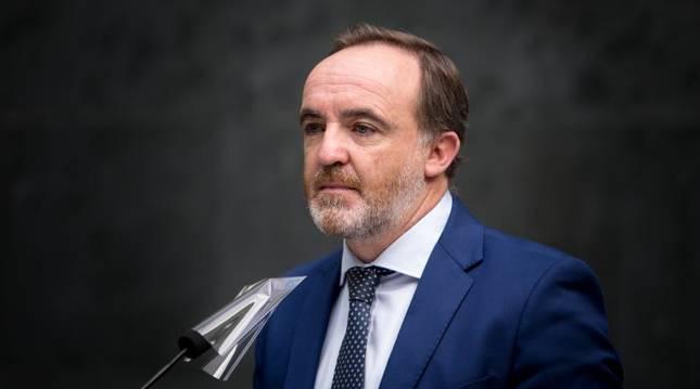 Javier Esparza, en el Parlamento de Navarra.