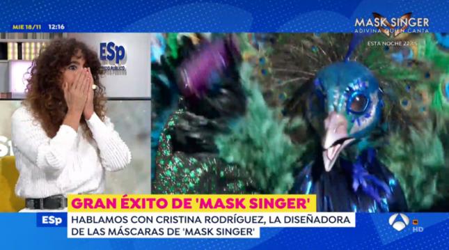 Cristina Rodríguez, diseñadora de 'Mask Singer España', durante su intervención de este jueves en el programa 'Espejo Público'
