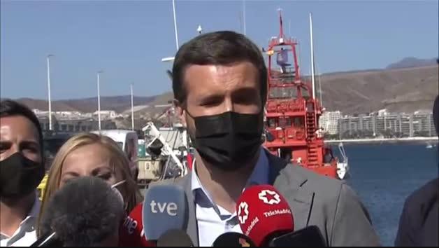 """Vídeo: Pablo Casado exige """"repatriaciones inmediatas"""" para los migrantes de Arguineguín"""