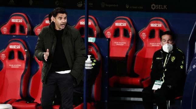 Míchel, entrenador del Huesca.