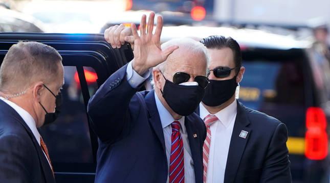 Foto de Joe Biden, en su llegada a una conferencia en Wilmington, este martes.