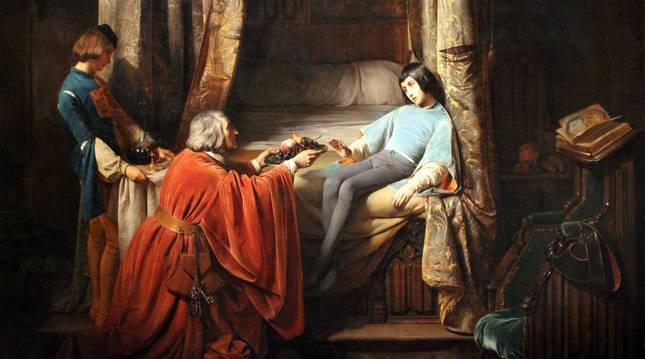 Cuadro de Claudius Jacquand sobre el triste final de Gastón, el hijo de Agnès de Navarra. Se guarda en el Louvre.