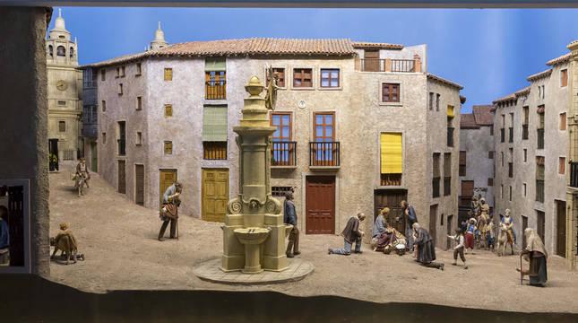 Foto del belén del zaguán del Ayuntamiento de Pamplona de las navidades 2020.