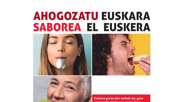 Cartel de la campaña de senbilización en torno al euskera del Gobierno de Navarra.