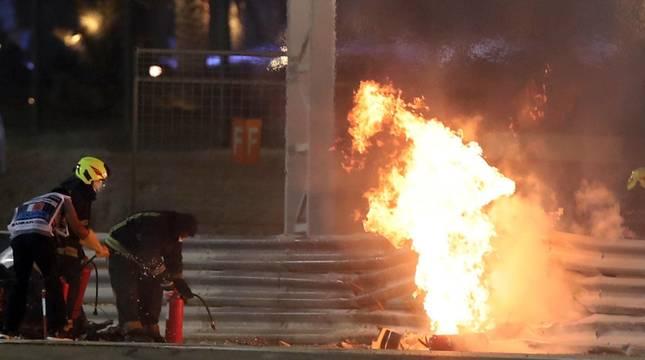 Espectacular accidente de Grosjean en Baréin
