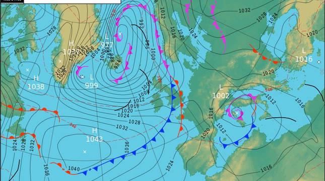 Mapa previsto para el miércoles a las 13:00 h donde se ve el frente de frío polar sobre el Atlántico.