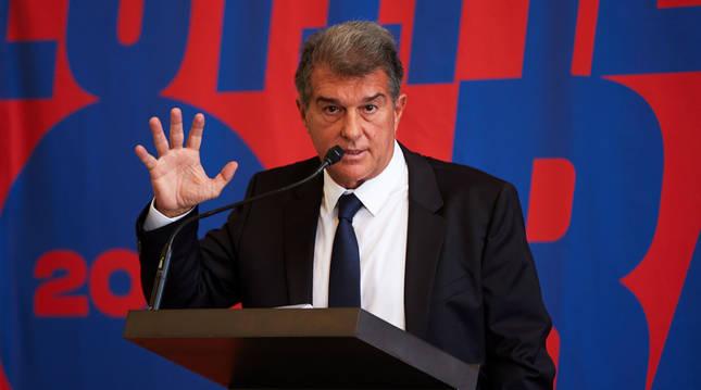 Joan Laporta, durante la presentación de su candidatura a la presidencia del FC Barcelona.