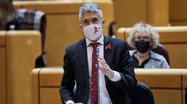 Foto del ministro del Interior, Fernando Grande-Marlaska, durante una sesión de control al Gobierno en el Senado.
