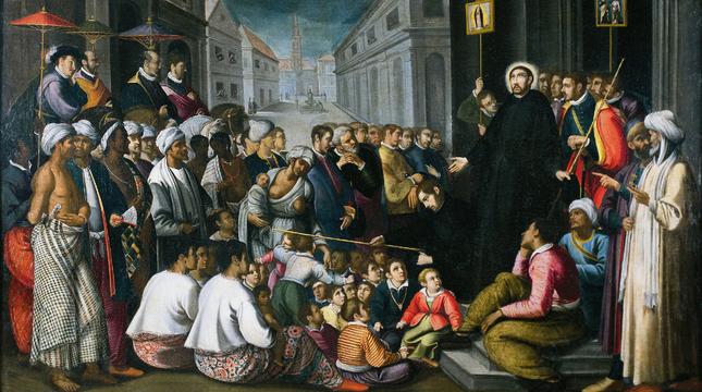 'San Francisco Javier predicando en Goa', cuadro de André Reinoso (1610).