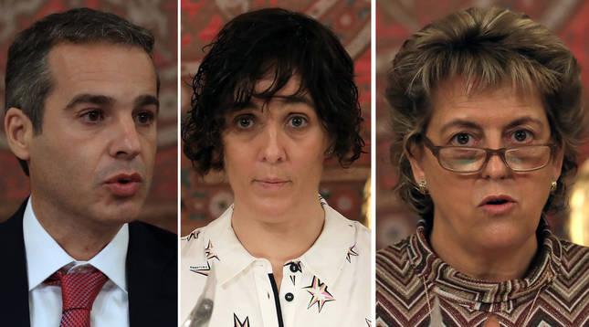 Foto de los sanitarios navarros Carlos Ibero, Ana Ariztegi y Amaya Iriarte.