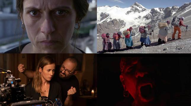 Fotografías de las películas: Hil kanpaiak y Cholitas (arriba) y Ofrenda a la tormenta y El Drogas (abajo).