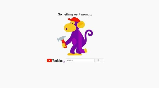 Captura de pantalla del error en YouTube.