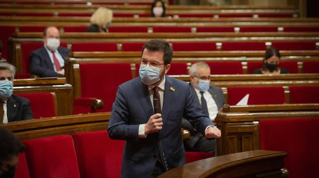 Pere Aragonès, en el Parlament