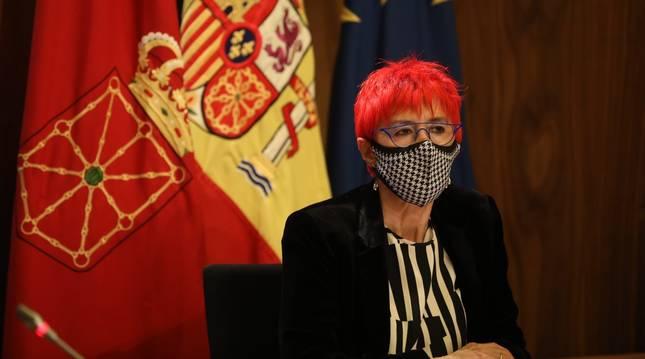 La consejera Santos Induráin, durante la rueda de prensa de este miércoles.