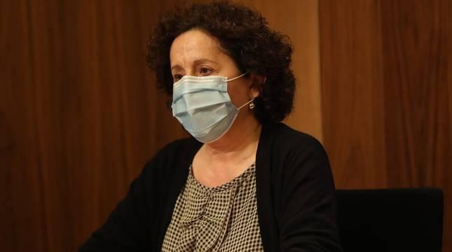 La consejera de Derechos Sociales, Carmen Maeztu, en la rueda de prensa de este miércoles.