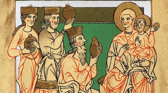 Escena de la Adoración de los Magos, en un manuscrito alemán medieval. R. C.