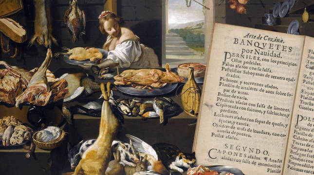 Escena de cocina (Flandes, s. XVII) y menú de Navidad incluido en 'Arte de cozina' (1611).