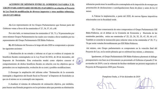 El Gobierno de Chivite ya pactó con Bildu 6 compromisos fiscales en 2019