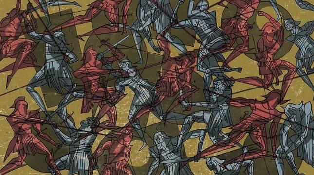 Detalle de una de las ilustraciones de La cólera, que narra la guerra de Troya con una mirada contemporánea. j. olivares y s. garcía / astiberri