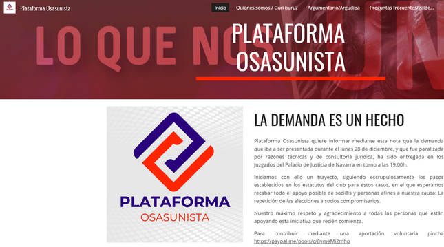 Página web de Plataforma Osasunista