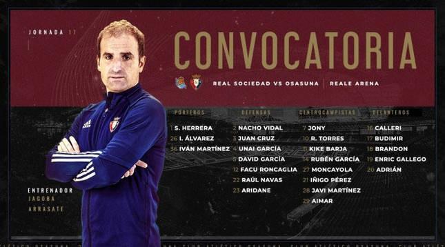 Lista de jugadores convocados por Osasuna para el partido ante la Real Sociedad del 3 de enero.