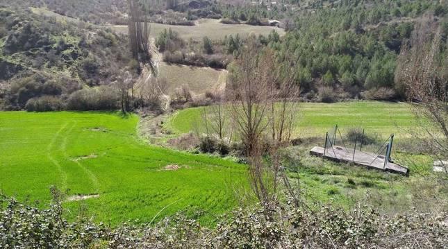 Foto de la ubicación de la actual fosa séptica en Aguilar de Codés (Navarra), donde se construirá la nueva depuradora.